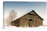 Snow Covered Barn House, Canvas Print