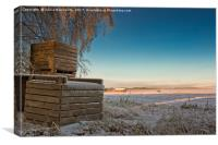 Frosty Crates By The Fields, Canvas Print