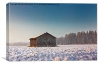 Morning Mist And An Old Barn House, Canvas Print