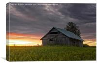 Lonely Barn House On The Fields, Canvas Print