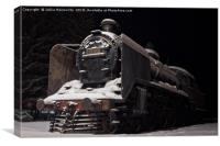 Old Steam Engine Covered With Snow, Canvas Print