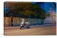 Lonely Scooter By The Street, Canvas Print
