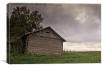 Dramatic Clouds Over The Barn House, Canvas Print