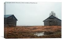 Two Old Barn Houses On The Rainy Fields, Canvas Print