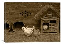Ye olde farmyard in sepia, Canvas Print