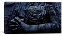 Statue of an Dark Angel Praying Close Up, Canvas Print