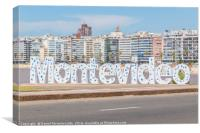 Montevideo Letters at Pocitos Beach, Canvas Print