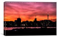 Cityscape Sunset Scene, Montevideo, Uruguay, Canvas Print