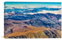 Andes Mountains Aerial View, Chile, Canvas Print