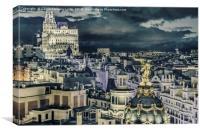 Madrid Cityscape Night Scene Aerial View , Canvas Print
