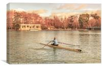 Woman Rowing at Del Retiro Park, Madrid, Spain, Canvas Print