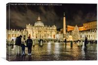 Saint Peters Basilica Night Scene, Rome, Italy, Canvas Print