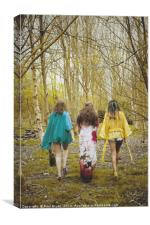 3 Women Walking in the Woods - Bohemian, Canvas Print