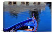 Blue and red rowing boat, Canvas Print