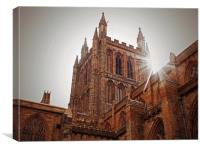 hereford cathedral in sunlight, Canvas Print