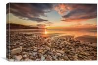 Sunset, St. Audries Bay, Somerset, Canvas Print