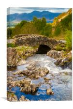 Ashness Bridge on a cloudy day., Canvas Print