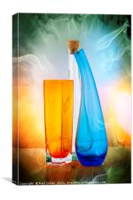 Glas jars and bottles, Canvas Print