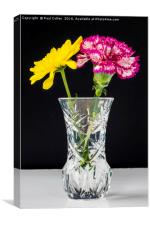 Chrysanthemums and Carnation in a lead crysal vase, Canvas Print