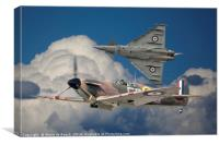 Spitfire and Typhoon Fly Past., Canvas Print