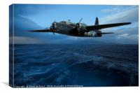 Vickers Wellington Dropping Mines Low Over The Sea, Canvas Print