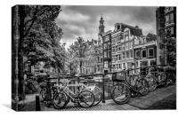 AMSTERDAM Flower Canal black and white, Canvas Print