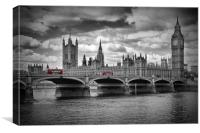 LONDON Houses of Parliament and Red Buses, Canvas Print