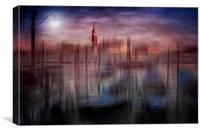 City-Art VENICE Gondolas at Sunset, Canvas Print