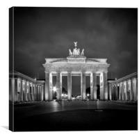 Brandenburg Gate BERLIN black&white, Canvas Print