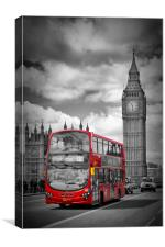 LONDON Houses Of Parliament And Red Bus, Canvas Print