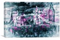 Modern-Art LONDON Tower Bridge & Big Ben Composing, Canvas Print