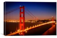 Evening Cityscape of Golden Gate Bridge , Canvas Print