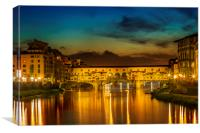 FLORENCE Ponte Vecchio at Sunset, Canvas Print