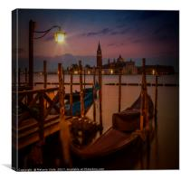 VENICE Gondolas during sunrise, Canvas Print