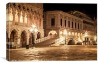 VENICE Riva degli Schiavoni at Night, Canvas Print