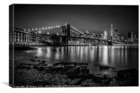 NEW YORK Nightly Stroll along the river bank, Canvas Print