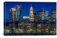 BOSTON Evening Skyline of North End & Financial Di, Canvas Print