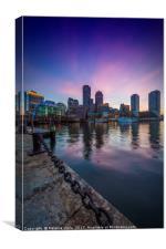 BOSTON Fan Pier Park & Skyline at Sunset, Canvas Print