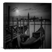 VENICE Gondolas during sunrise in black and white, Canvas Print