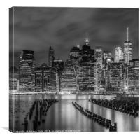 NEW YORK CITY Monochrome Night Impressions , Canvas Print