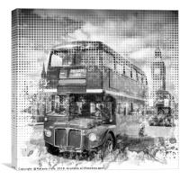 Graphic Art LONDON WESTMINSTER Buses | Monochrome, Canvas Print