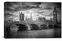 LONDON Westminster Bridge and red buses, Canvas Print
