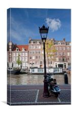 Canalside, Amsterdam, Canvas Print