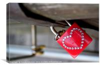 Padlock with a heart, Canvas Print