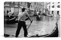 A gondola boatman in Venice, Canvas Print