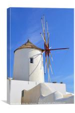 A windmill in Santorini island, Greece, Canvas Print