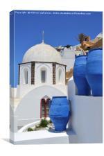 A small church in Fira, Santorini, Greece, Canvas Print