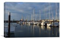 Frosty view from Largs Marina towards Great Cambra, Canvas Print