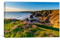 Bedruthan Steps Cornwall in Spring, Canvas Print