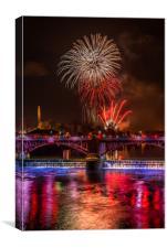Guy Fawkes night Firework display at Glasgow Green, Canvas Print